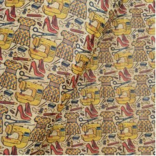 "Portuguese cork fabric, Printed pattern on natural cork 68x50cm / 27.50""x20"", (S86)"