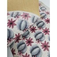 "Cork fabric, Printed pattern on white cork 68x50cm / 27.50""x20"", (S94)"