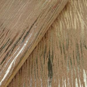 "Cork leather, green product, Portuguese cork fabric aglomerated cork with golden colorful stripes 68x50cm / 27.50""x20"""