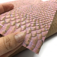 Cork leather - Portuguese cork fabric embossed pink crocodile 68 x 50 cm