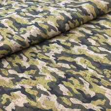 "Cork leather camouflage Printed pattern 68x50cm / 27.50""x20"",  - Portuguese cork fabric (TROPA)"