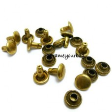 7 mm Rivets and Studs for Handbags, Belts, Carrying Bags, Suitcases, Shoes 50 sets per bag Anti brass RV01