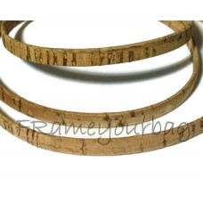1 meter/ 39 in - Flat cork Leather cord  natural - 5mm x 2mm