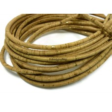1 Meter  - 5 mm Genuine Cork Cord golden pigmentation (European product)