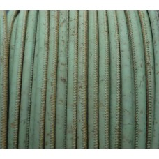1m / 39 in cork Leather Cord 5mm, green aqua color REF-38