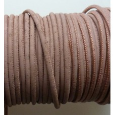 1 Meter Portuguese Cork 5mm Leather Cord, baby pink color, finding, jewelry supplies,, bracelet, purse, bag, wrap bracelet - REF-103