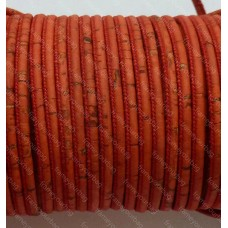 1 Meter Portuguese Cork 5mm Leather Cord, red color (European product)