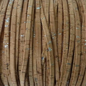 1 meter/ 39 in - Flat cork Leather cord natural with silver pigments - 5mm x 2mm (European product) REF-133