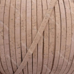 1 meter/ 39 in - Flat cork Leather cord baby pink - 5mm x 2mm (European product) REF-135