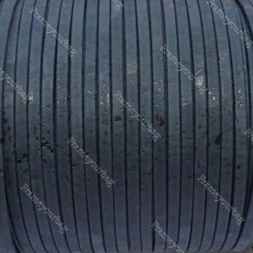 1 meter/ 39 in - Flat cork Leather cord Blue Navy - 5mm x 2mm (European product) REF-145