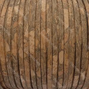 1 meter/ 39 in - Flat cork Leather cord granada - 5mm x 2mm (European product) - REF-146