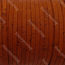 1 meter/ 39 in - Flat cork Leather cord orange - 5mm x 2mm (European product) REF-148