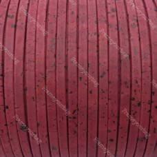 1 meter/ 39 in - Flat cork Leather cord wine - 5mm x 2mm (European product) REF-151