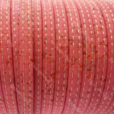 1M/ 39 in - Stitched Flat cork Leather cord pink - 5mm x 2mm (European product) REF-475