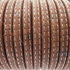 1M/ 39 in - Stitched Flat cork Leather cord brown - 5mm x 2mm (European product) REF-162