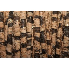 1 Meter Portuguese Cork 5mm Leather Cord, brown and natural with golden pigmentation (European product) REF-19