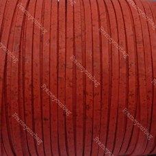 1 meter/ 39 in - Flat cork Leather cord red - 5mm x 2mm (European product) REF-150