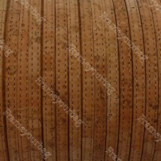 1M/ 39 in - StitchedFlat cork Leather cord natural - 5mm x 2mm (European product) REF-158
