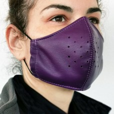 Purple Leather Adult Face Mask with Filter, Leather Face Mask Reusable, Washable mask