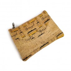 Mini Cork Purse with pattern, zip wallet - Handmade Portuguese cork Purse - COBC019