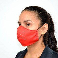 Red Leather Adult Face Mask with Filter, Leather Face Mask Reusable, Washable mask