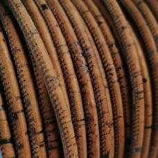 1 meter - 5 mm Genuine Cork Cord Rustik Brown color - REF-10
