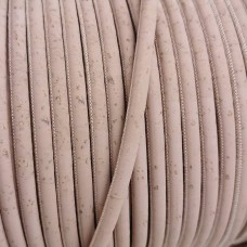 1 Meter Portuguese Cork 5mm Leather Cord, baby pink color - REF-103