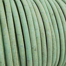 1 Meter / 39 in Portuguese Cork 5mm Leather Cord color green mint - REF-106