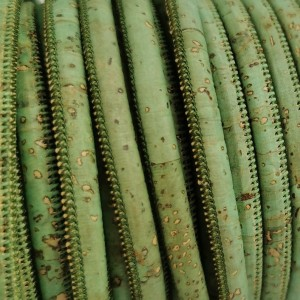 1 Meter / 39 in Portuguese Cork 5mm Leather Cord color royal green - REF-117