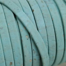 1 meter/ 39 in - Flat cork Leather cord light blue - 5mm x 2mm (European product) - REF-118