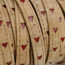 1 Meter Portuguese flat Cork natural with red hearts 10x2mm - REF-130