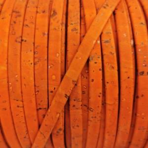 1 meter/ 39 in - Flat cork Leather cord orange - 5mm x 2mm (European product) - REF-148