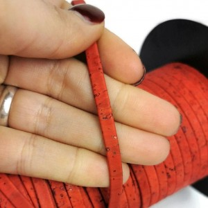 1 meter/ 39 in - Flat cork Leather cord coral red - 5mm x 2mm (European product) REF-150