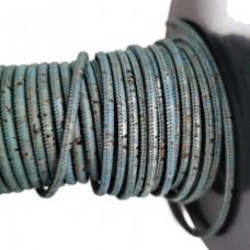 1 m/39 in of petroleum blue cork cord 3 mm REF-155