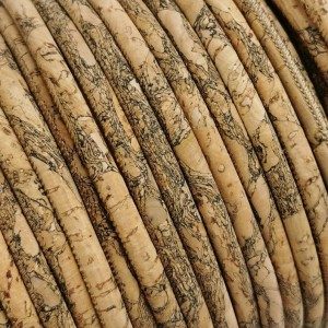 1 Meter / 39 in Portuguese Cork 5mm Leather Cord Granada pattern - REF-157