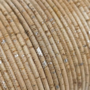 1 meter/ 39 in  - 3 mm Natural with Silver Pigments Genuine Cork Cord (European product) REF-172