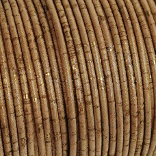 1m / 39 in - 3 mm Genuine Cork Cord Gold(European product) REF-173