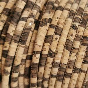 1 meter of 3 mm cork cord zebra pattern with golden flecks (European Product) - REF-176
