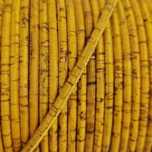 1m / 39 in - 3 mm Cork Cord yellow Rustic - REF-177