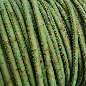 1m / 39 in - 3 mm Cork Cord Royal green - REF-178