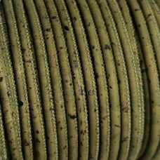 1 meter - 3 mm Genuine Cork Cord Army Green (European product) ref-179
