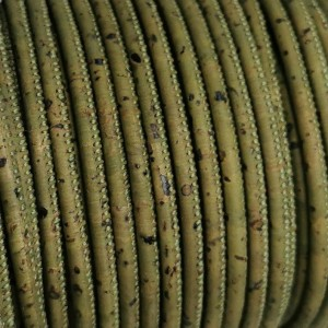1 meter - 3 mm Genuine Cork Cord Army Green (European product) ref-179