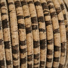 1 Meter Portuguese Cork 5mm Leather Cord, brown and natural color - REF-18