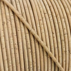 1 meter/ 39 in  - 3 mm Genuine Cork Cord natural (European product) REF-2