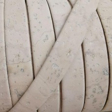 1 Meter Portuguese Cork 10x2mm Flat Leather Cord, White REF-206