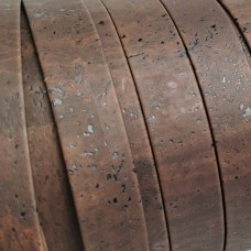 Brown Flat cork Leather cord - 25mm x 2mm (European product) - REF-