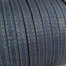 1 Meter Portuguese stitched flat Cork 10x2mm, Navy Blue REF-249