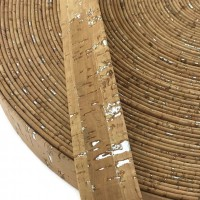 Natural with silver Flat cork Leather cord - 20mm x 2mm (European product) - REF-262