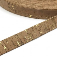 Natural with Golden Flecks Flat cork Leather cord - 20mm x 2mm (European product) - REF-263