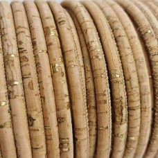 1 Meter - 5 mm Genuine Cork Cord rustik natural with golden pigmentation - REF-27